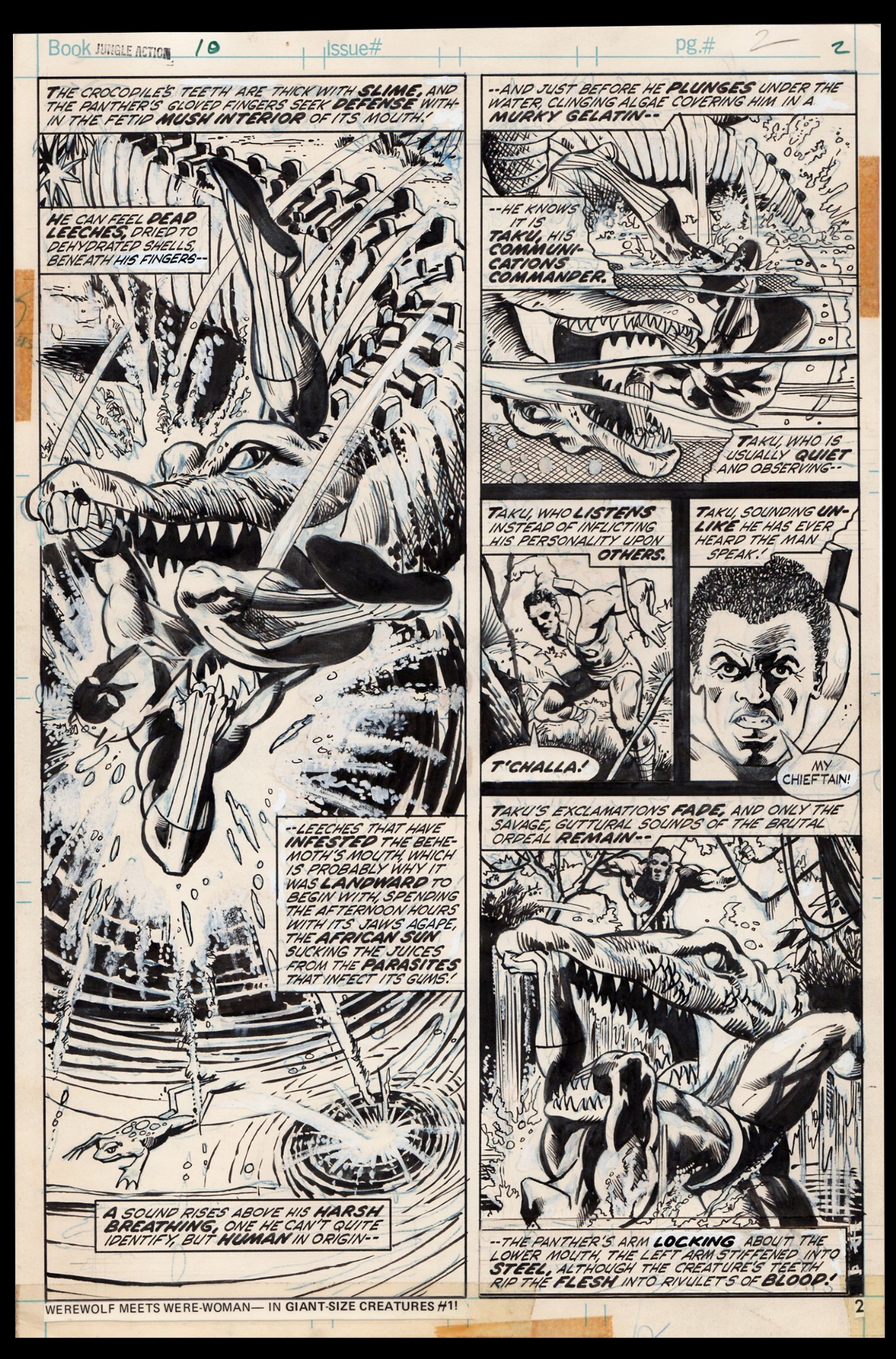 Jungle Action 10 Half Splash Art By Billy Graham Black Panther Vs Giant Crocodile In Rob Hughes S Artwork Personal Collection Comic Art Gallery Room