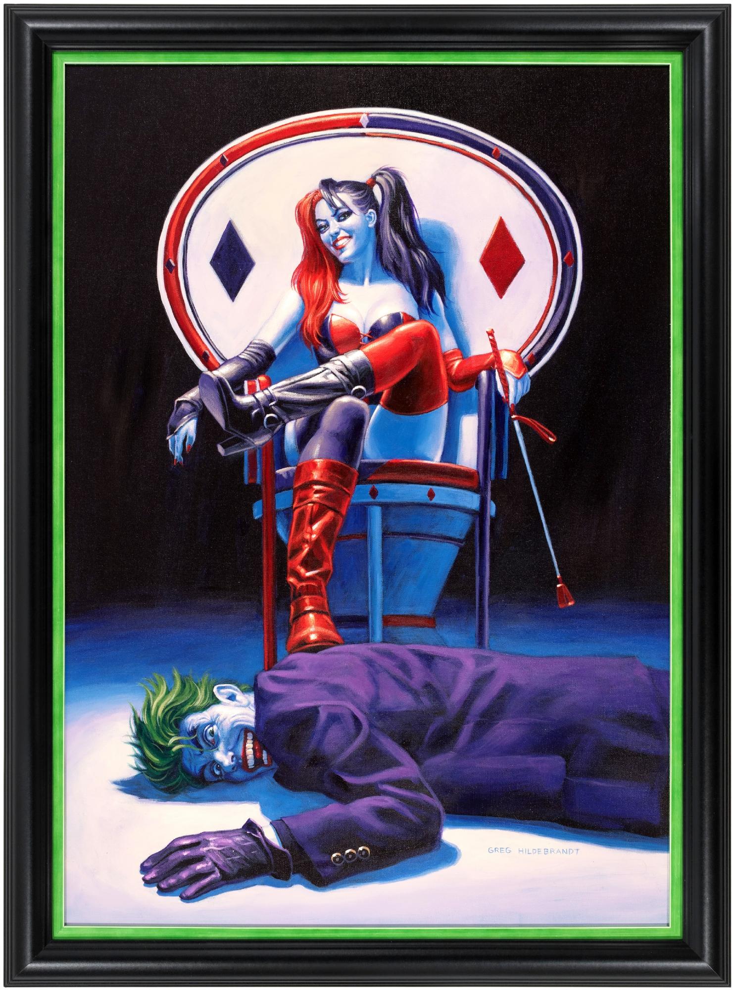 Harley Quinn The Joker Whiplash Original Art Painting By Greg Hildebrandt In Hake S Auctions S Auction Results Comic Art Gallery Room