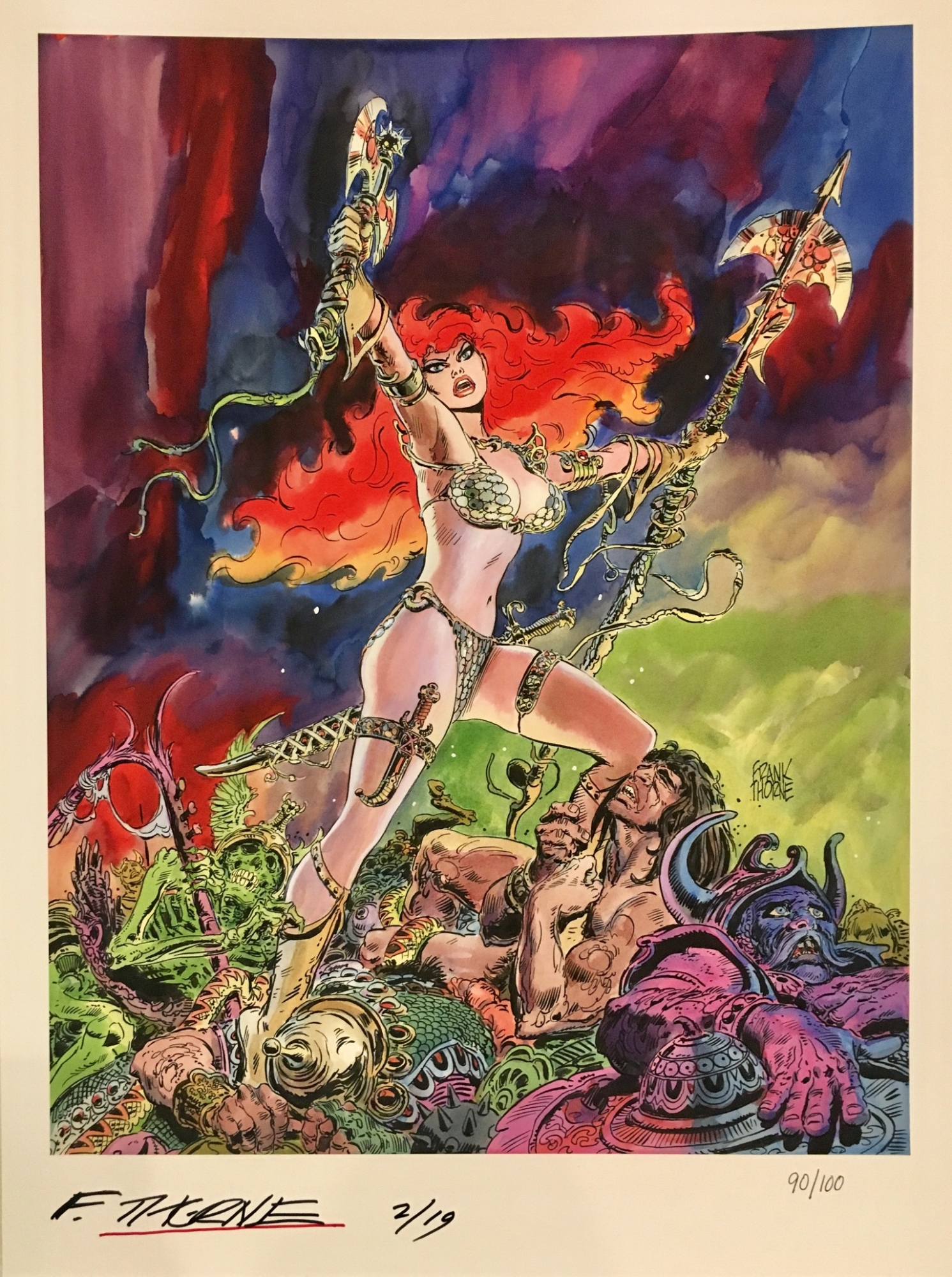 Red Sonja SIGNED Frank Thorne LIMITED EDITION 1//100 HIGH QUALITY PRINT