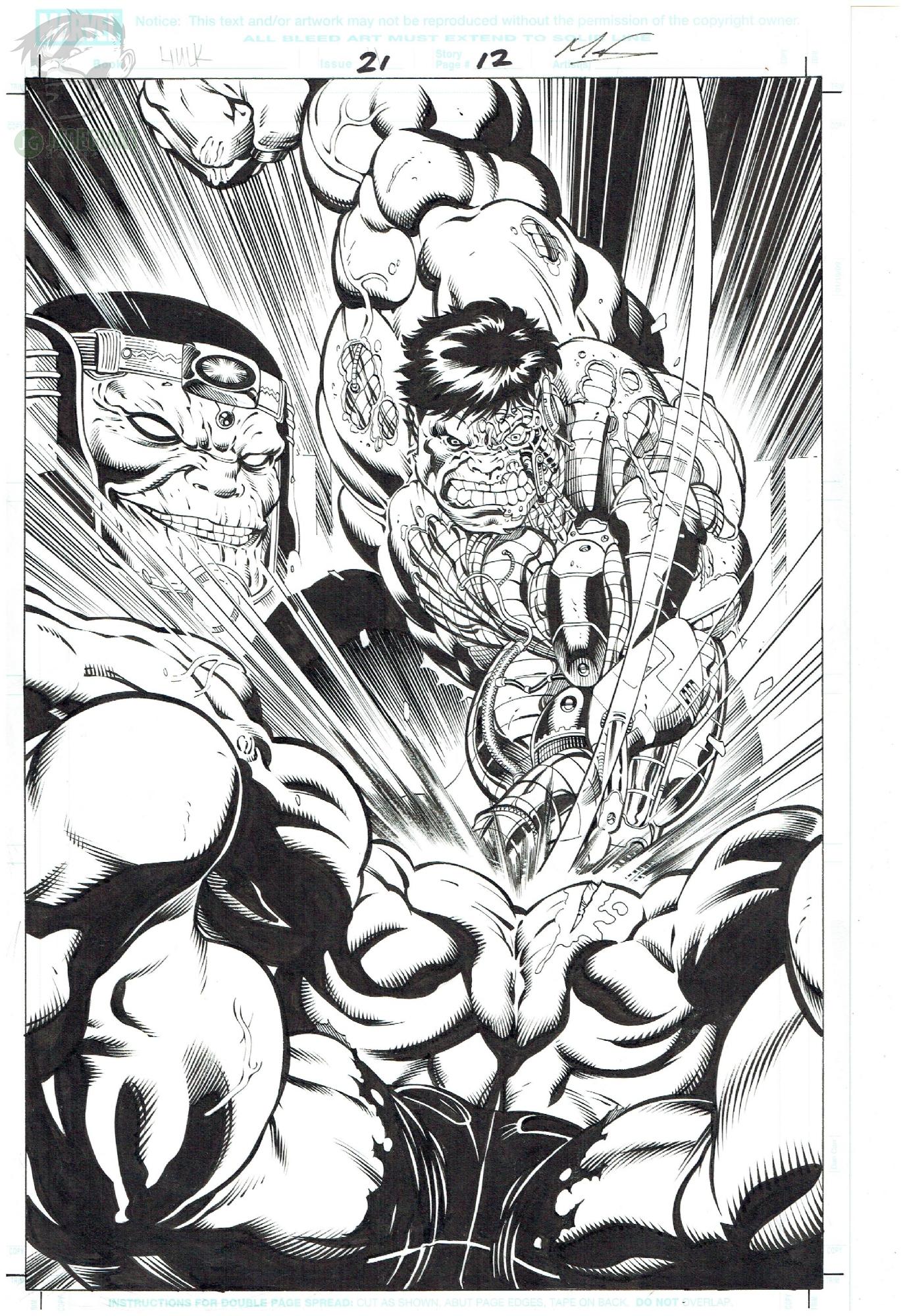 2010 Hulk issue 21 page 12 Cosmic Hulk vs Ross Red Hulk by Ed McGuinness Comic Art