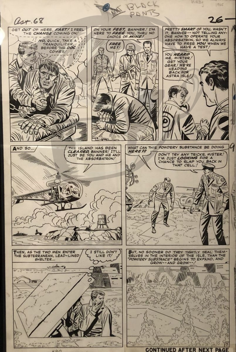 1965 Tales To Astonish 68 with the Hulk by Jack Kirby and Mike Esposito as Mickey Demeo.  Comic Art