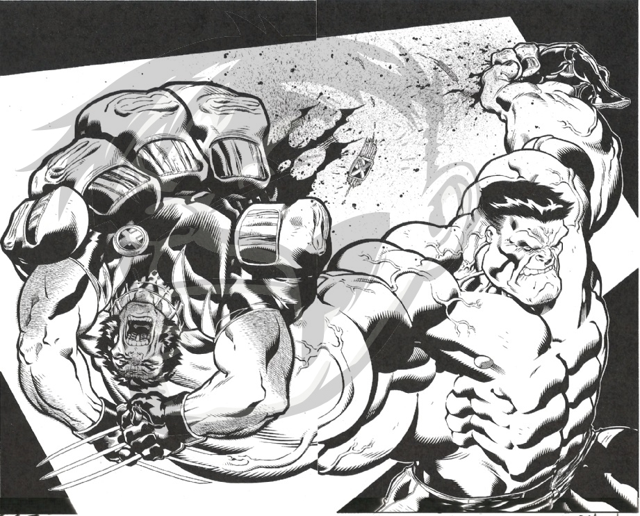 2007 Wolverine Volume 3 Issue 50, page 29 by Ed McGuinness and Dexter Vines, vs the Hulk! Comic Art