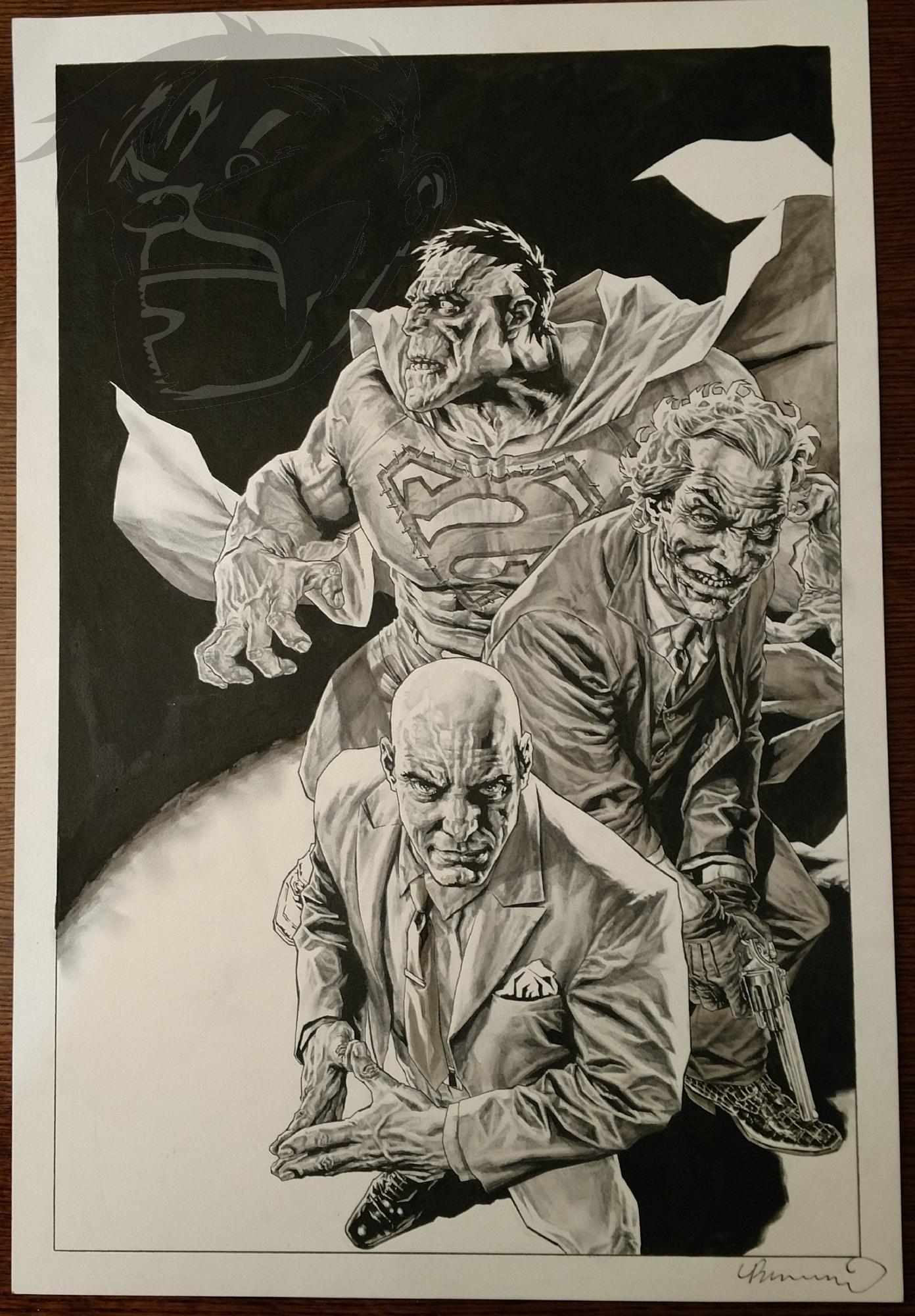 Wizard Cover art by Lee Bermejo - Batman and Superman villains Joker, Lex Luthor, and Bizarro Comic Art