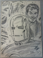 Tony Stark and Iron Man sketch by Don Heck 1993 Comic Art