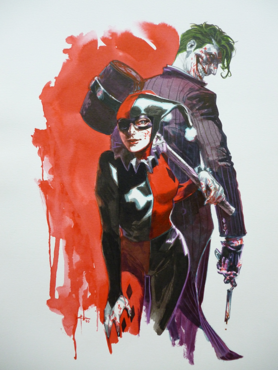 Harley Quinn And Joker In David Rollem S Gabriele Dell Otto Comic Art Gallery Room