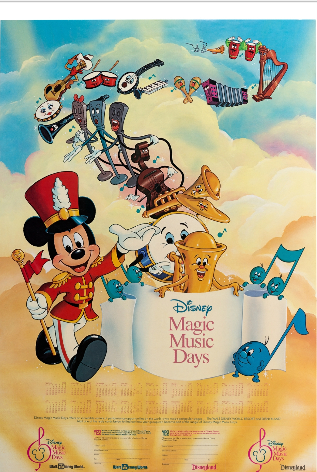 Disney Magic Music Days Mickey Mouse Poster Illustration And Printed Poster Walt Disney 1990 Photo Of Published Work In Roland Benton S Disney Mickey Mouse Minnie Mouse And Pluto Comic Art Gallery Room