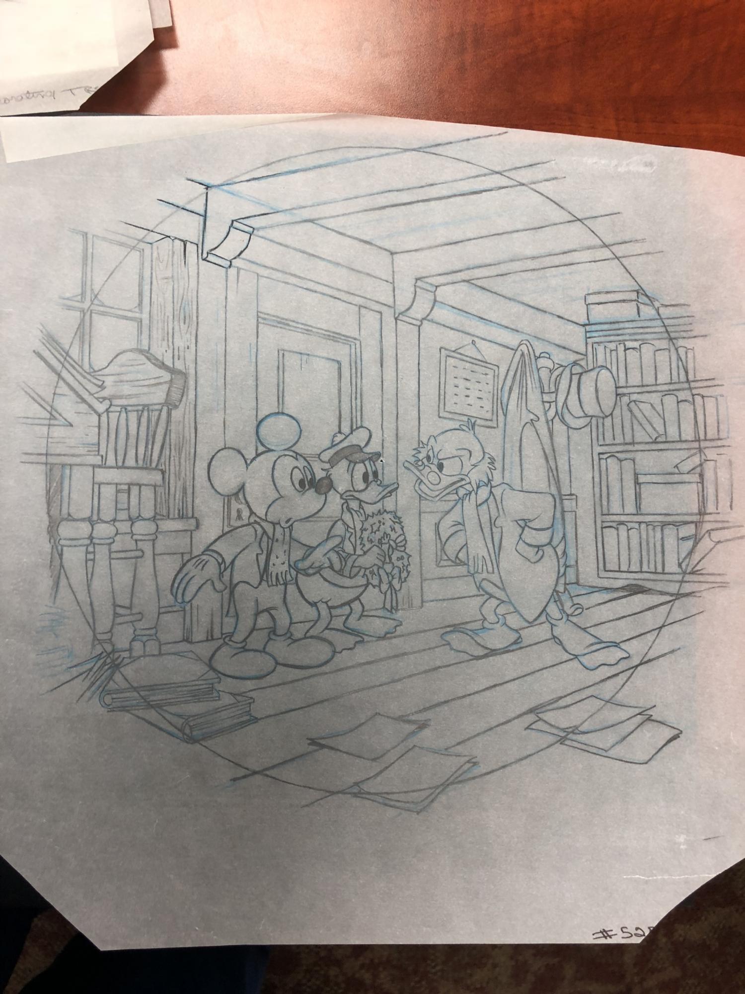 Mickey S Christmas Carol Collector S Plate Design Art Walt Disney C 1990s In Roland Benton S Disney Mickey S Christmas Carol Hand Painted Cels Plate Art Comic Art Gallery Room