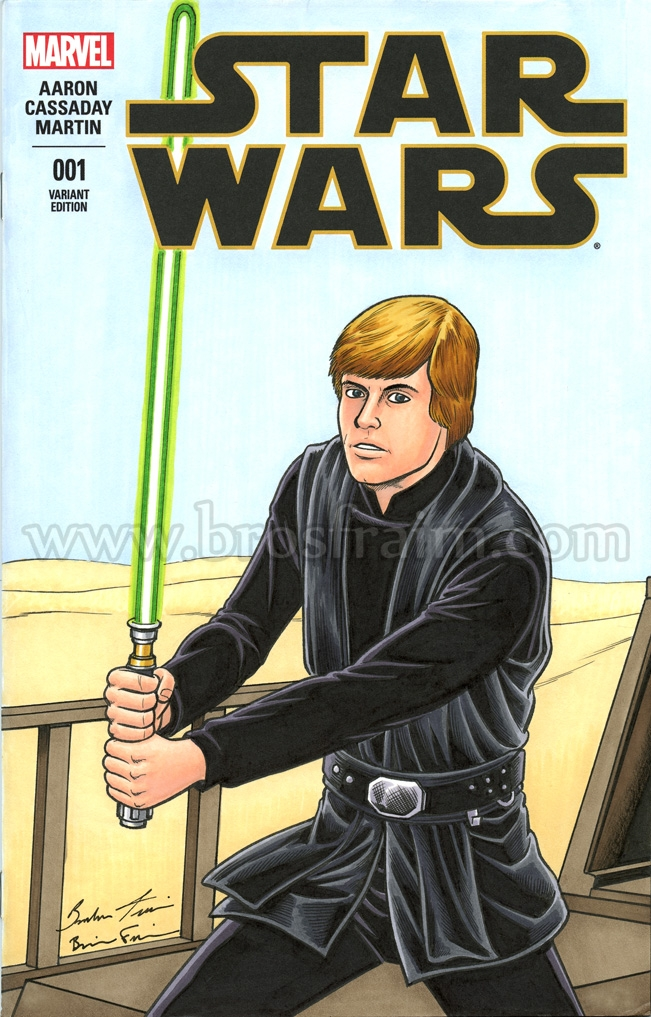 Comic Art Shop Brendon And Brian Fraim S Comic Art Shop Star Wars 1 Sketch Cover Featuring Jedi Knight Luke Skywalker The Largest Selection Of Original Comic Art For Sale On The Internet