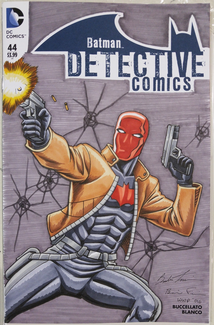 Detective Comics 44 Sketch Cover Featuring Red Hood In Brendon And Brian Fraim S 2016 Wizard World Philadelphia Con Sketches Comic Art Gallery Room
