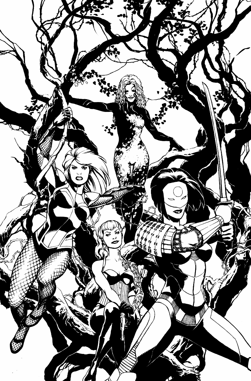 Comic Art Shop Erfauki D S Comic Art Shop Birds Of Prey 1 Cover Katana Stacey Poison Ivy And Black Canary The Largest Selection Of Original Comic Art For Sale On The Internet