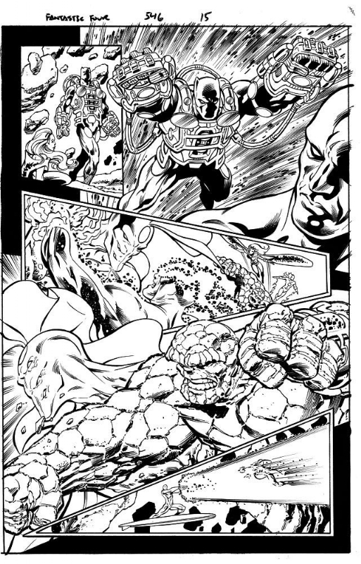 Fantastic Four 546 p. 17 The Thing Silver Surfer Black Panther Comic Art