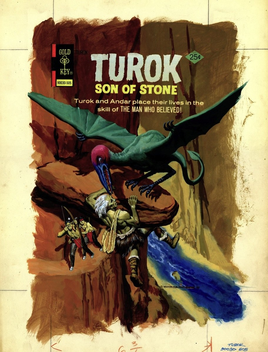 Wilson George Turok Son Of Stone 96 Cover Turok And Andar Save A Caveman From A Flying Dinosaur In Stephen Donnelly S Wilson George Gold Key Painted Covers Star Trek