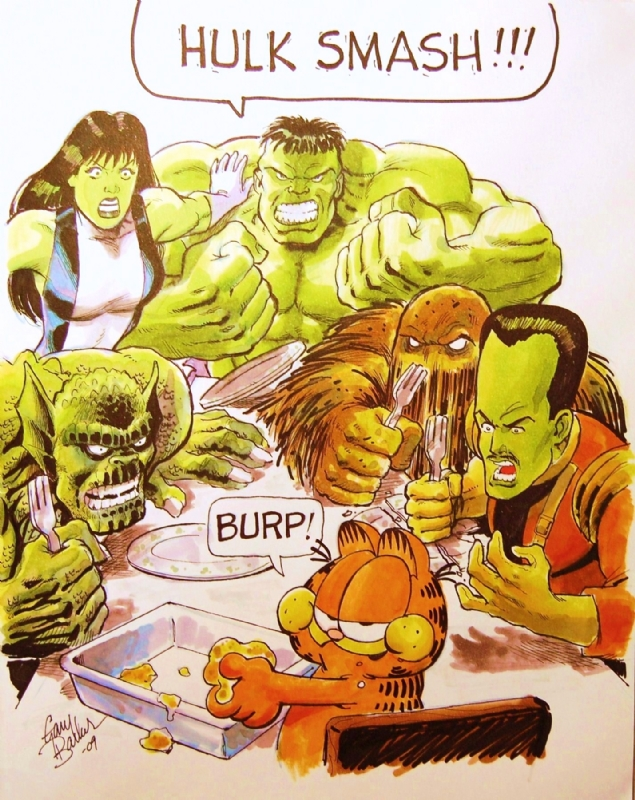 Hulk She Hulk Friends Vs Garfield Gary Barker In Thomas Suhling S Hulk Sketchbook Volume Ii 1999 2012 Comic Art Gallery Room