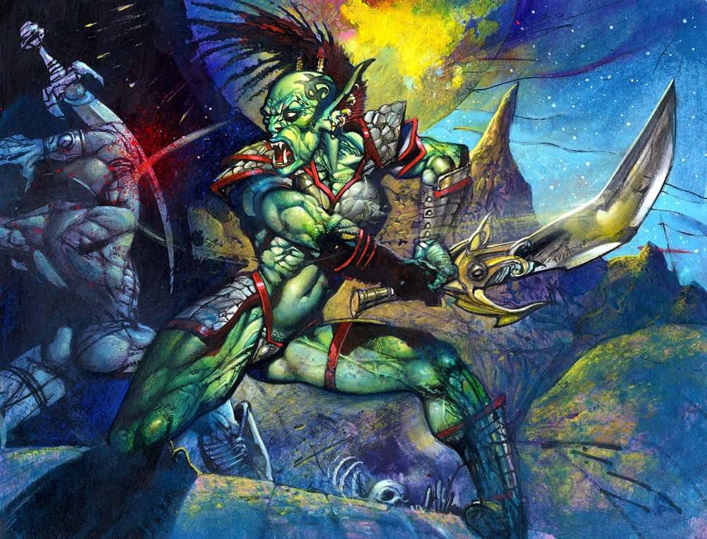 Simon Bisley Painting Warcraft 2 Trading Card Sold In Simon Reed S Art Sold By Simon Bisley Sorry You Missed It Comic Art Gallery Room
