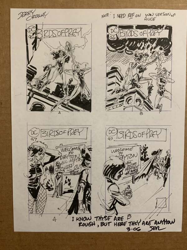 Jerry Ordway Birds Of Prey 96 97 Original Comic Cover Art Designs Black Canary In Tarhan K S For Sale Cover Art Comic Art Gallery Room