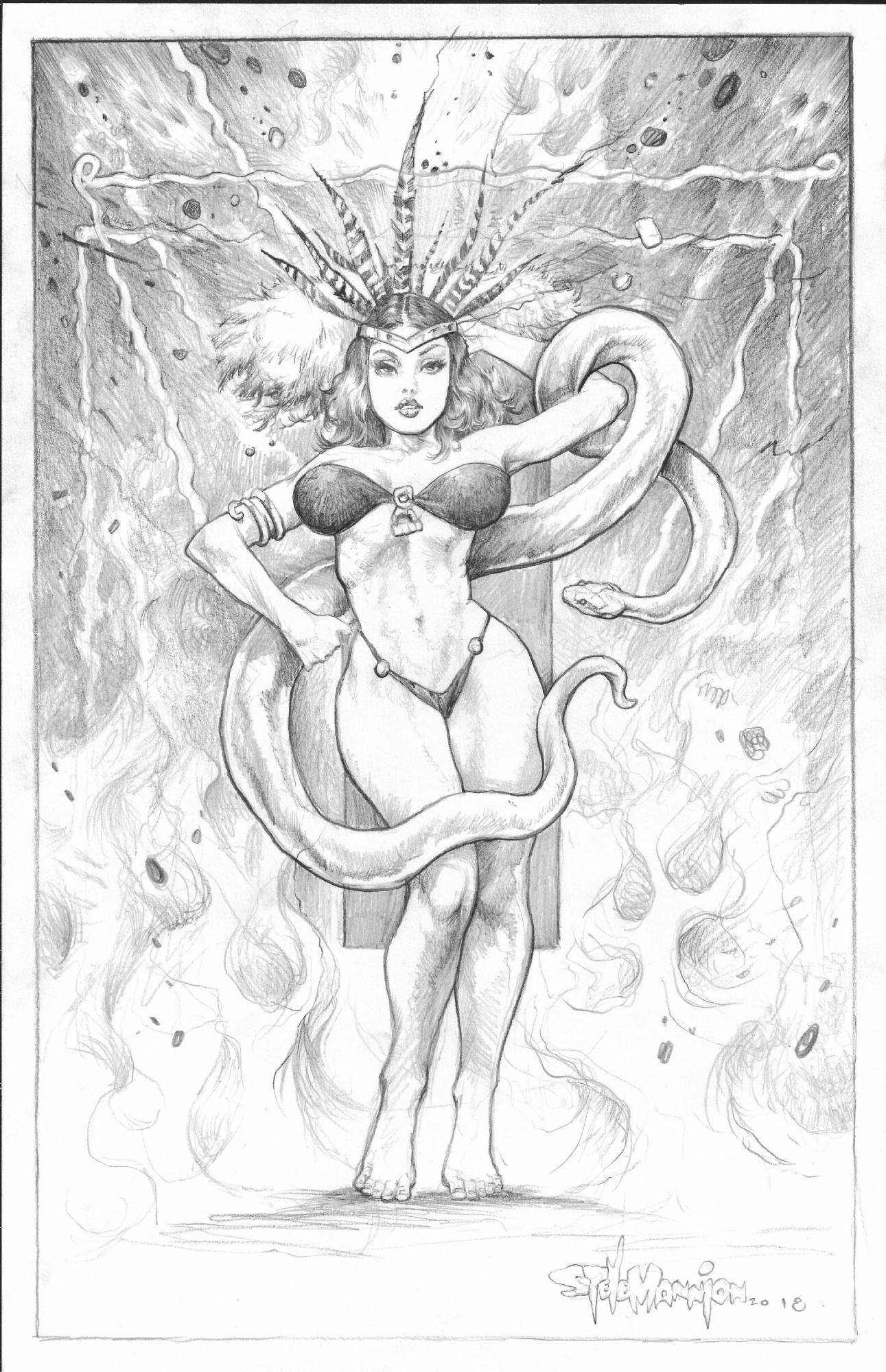 Steve Mannion Santanico Pandemonium From Dusk Til Dawn Version 1 In Michael Diaz S Commissions Pin Ups Con Sketches Comic Art Gallery Room