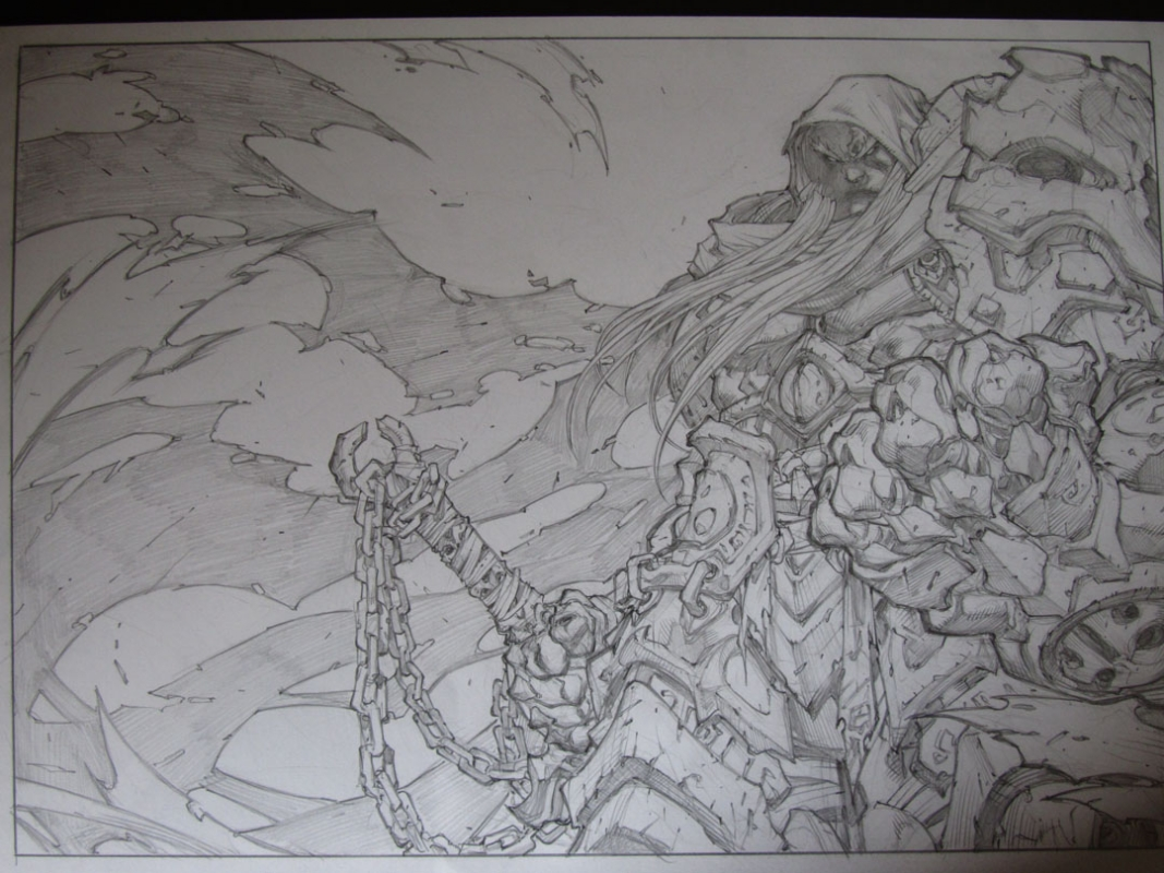 Joe Madureira Darksiders Pinup In Phil H S Originals Comic Art Gallery Room