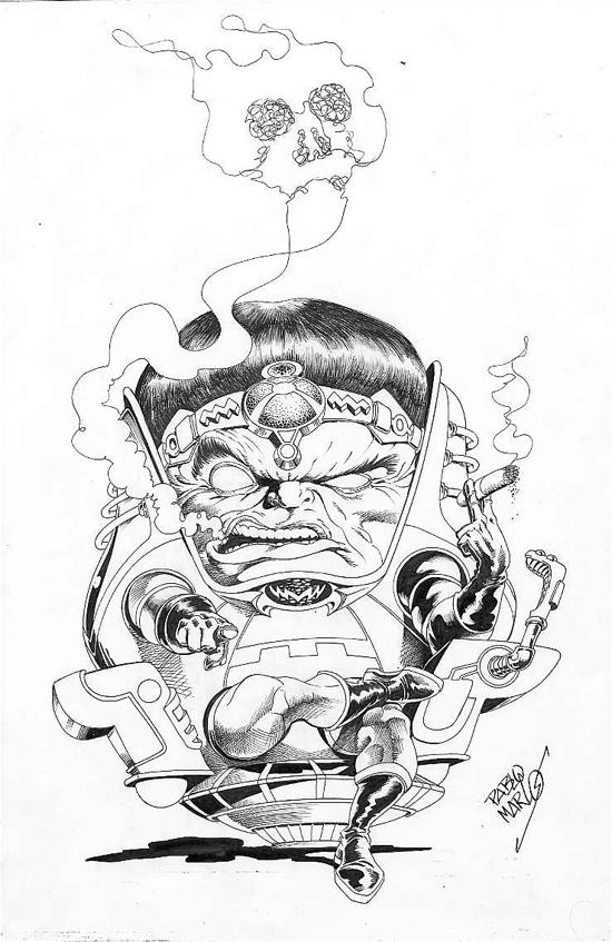 Modok Blowing Smoke Skulls Pablo Marcos In Kasra Ghanbari S Modok Smoking Homage To Jack Kirby Comic Art Gallery Room