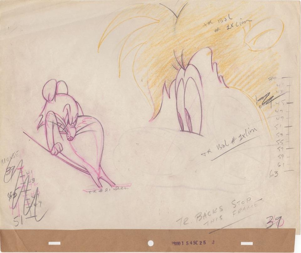 Comic Art Shop Brian Peck S Comic Art Shop Original Animation Key Drawing From 1947 Mgm Slap Happy Lion The