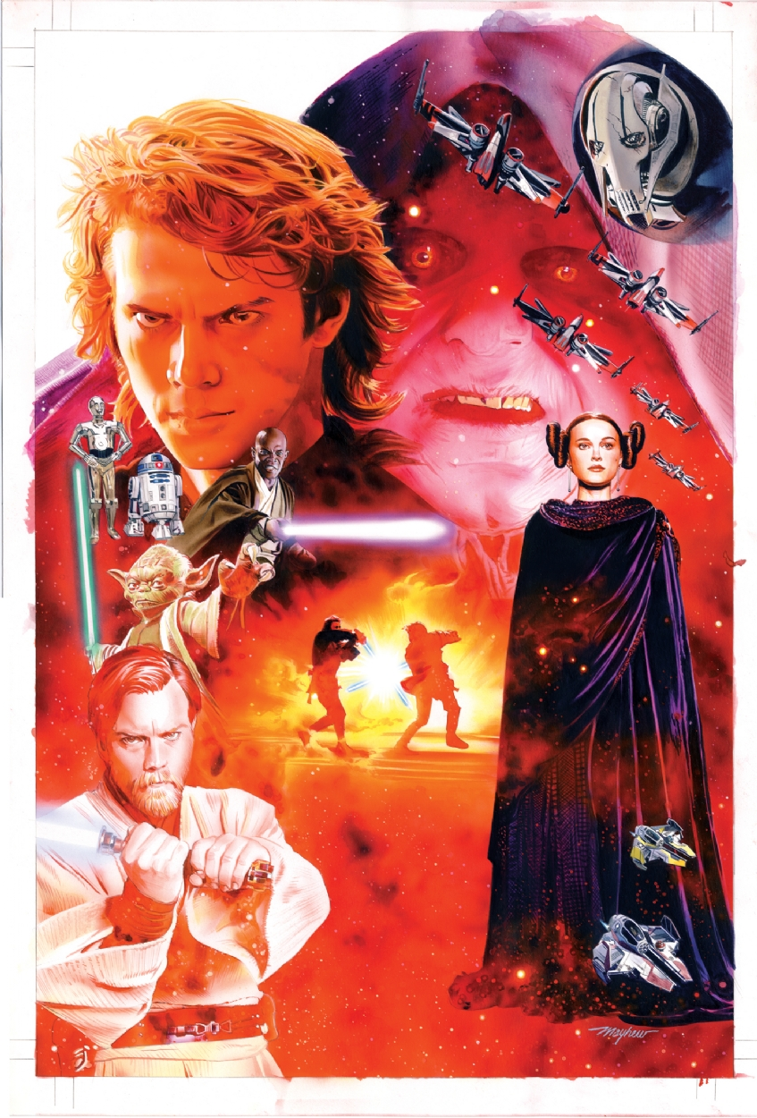 Mike Mayhew Original Star Wars Revenge Of The Sith Hardcover Collection Cover Painting In Mike Mayhew S Star Wars Art Comic Art Gallery Room