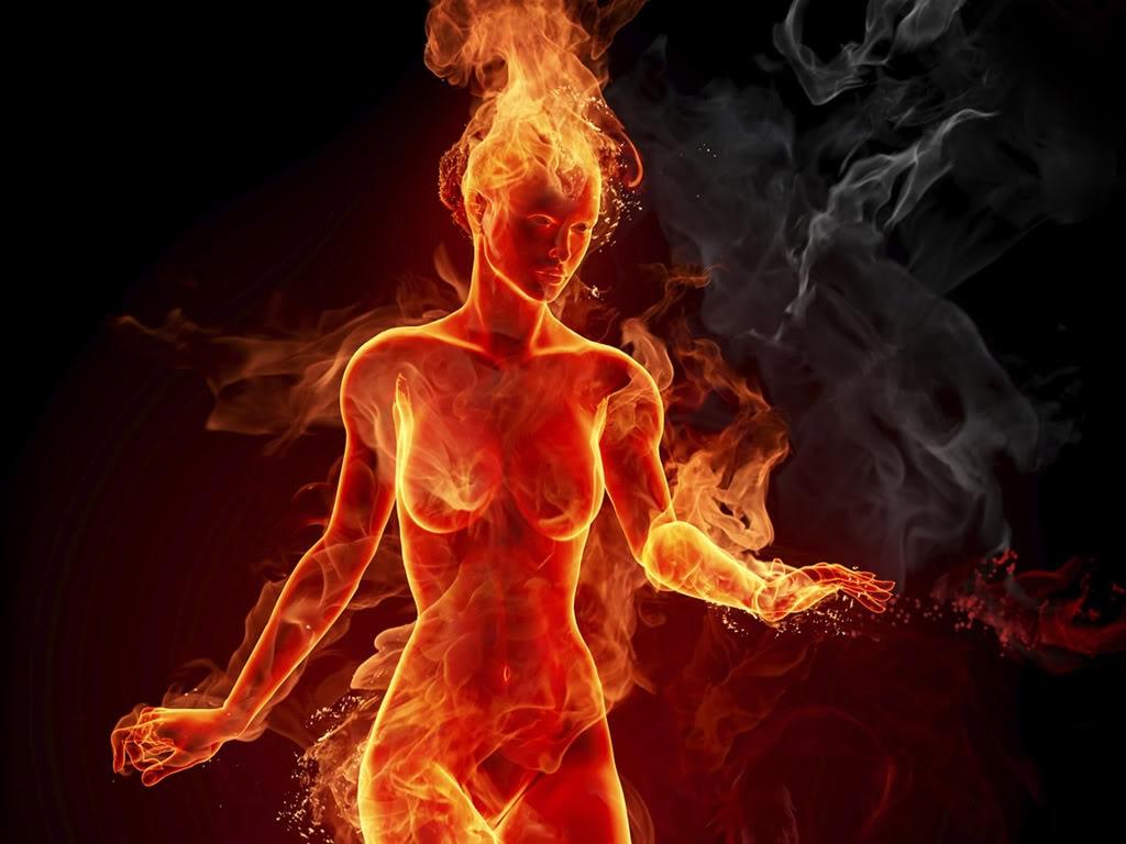 """{$tags} Spesso i neanderthal venerano il fuoco e gli spiriti - by Ekta Hattangadi """"Fire spirit woman"""", //www.comicartfans.com// © dell'autore"""