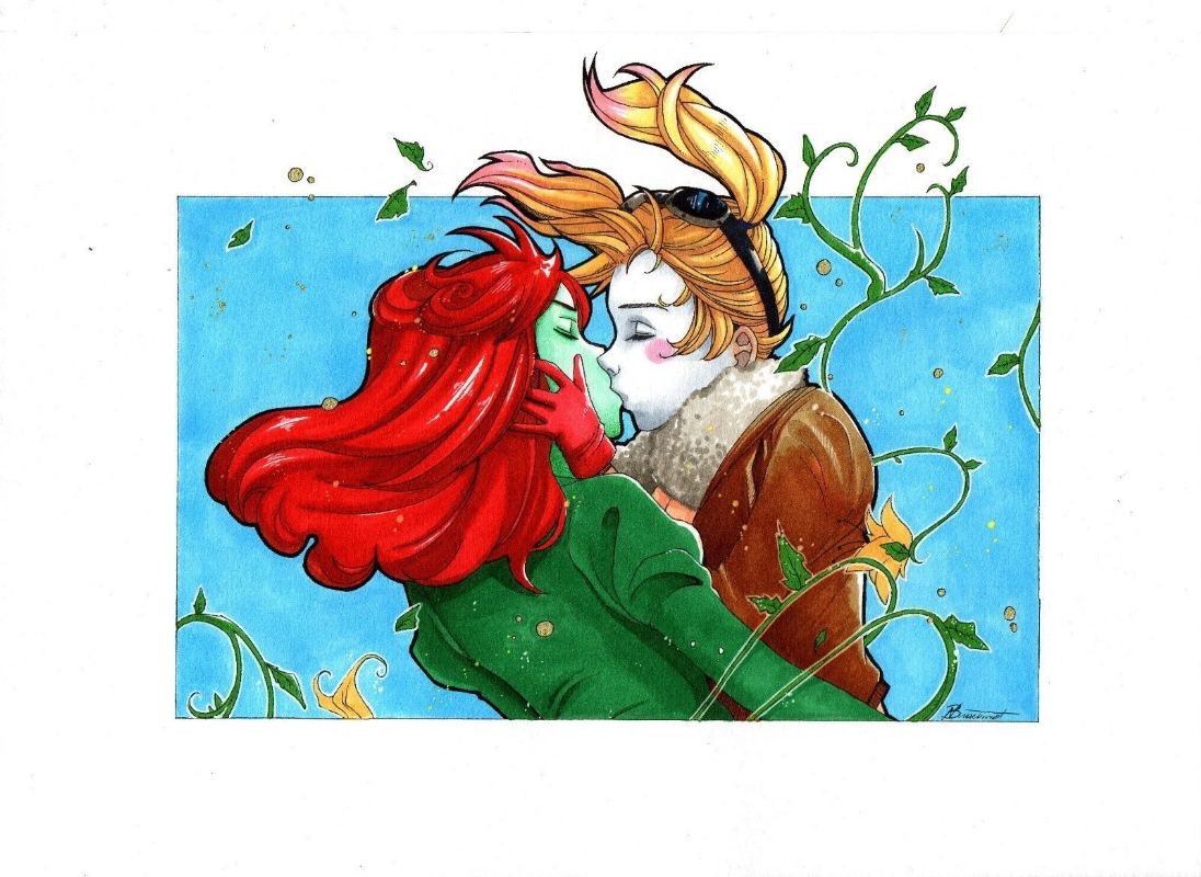 Harley Quinn Poison Ivy Kiss By Nathalie Braconnot In Daniel B S Commissions Comic Art Gallery Room