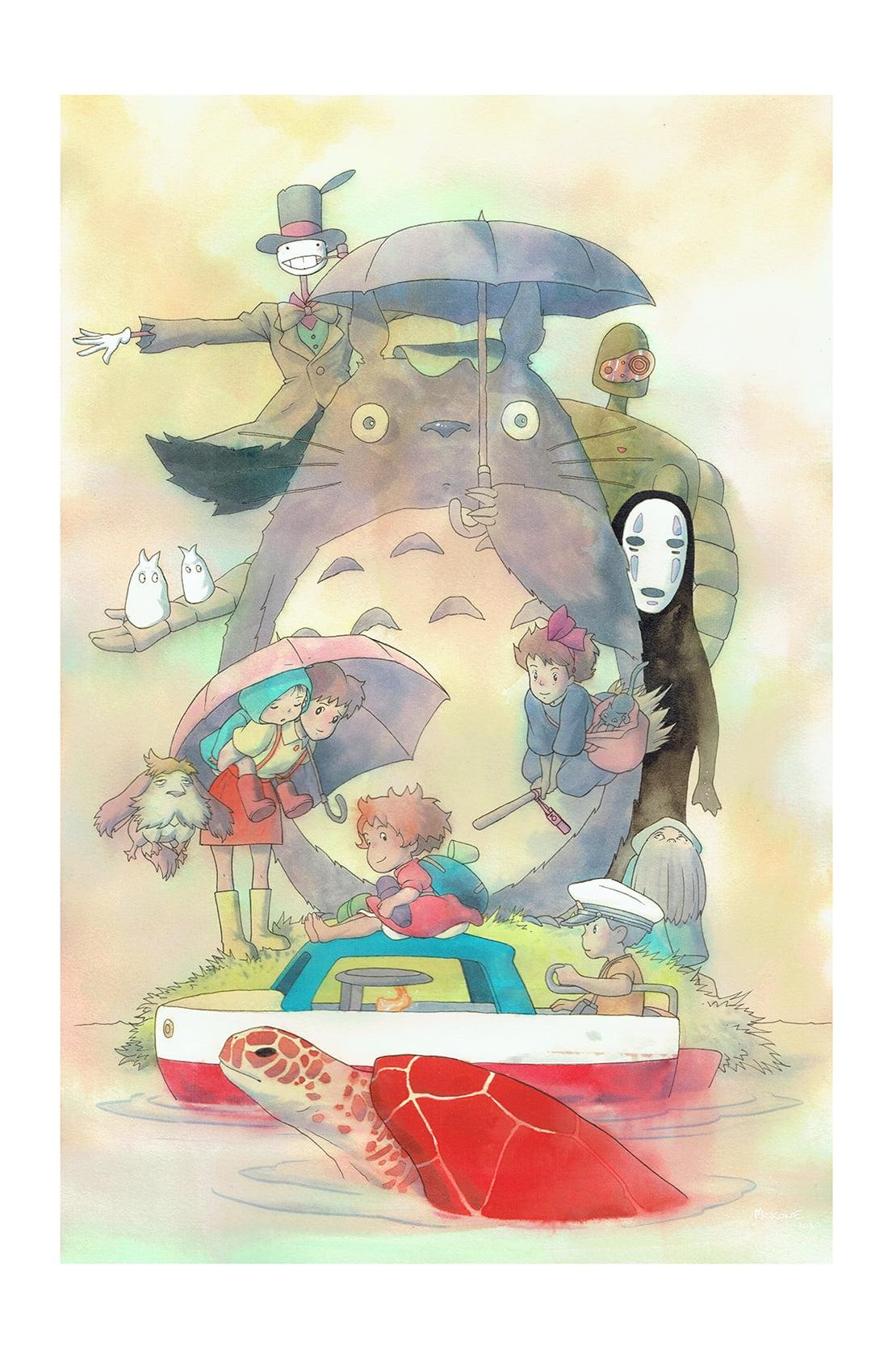 Studio Ghibli Watercolor Commission My Neighbor Totoro Kiki S Delivery Service Spirited Away Ponyo In Tatiana Tdart Dykes S Mike Mckone Comic Art Gallery Room