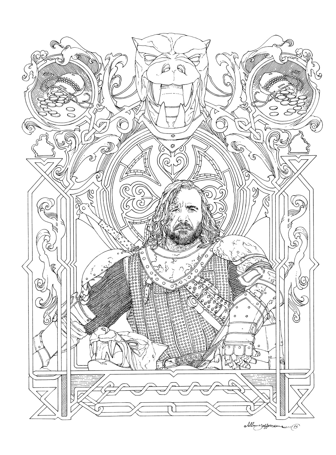Game Of Thrones The Hound Illo Allan Jeff In Chiaroscuro Studios S Commissions By Allan Jeff List Now Open Comic Art Gallery Room