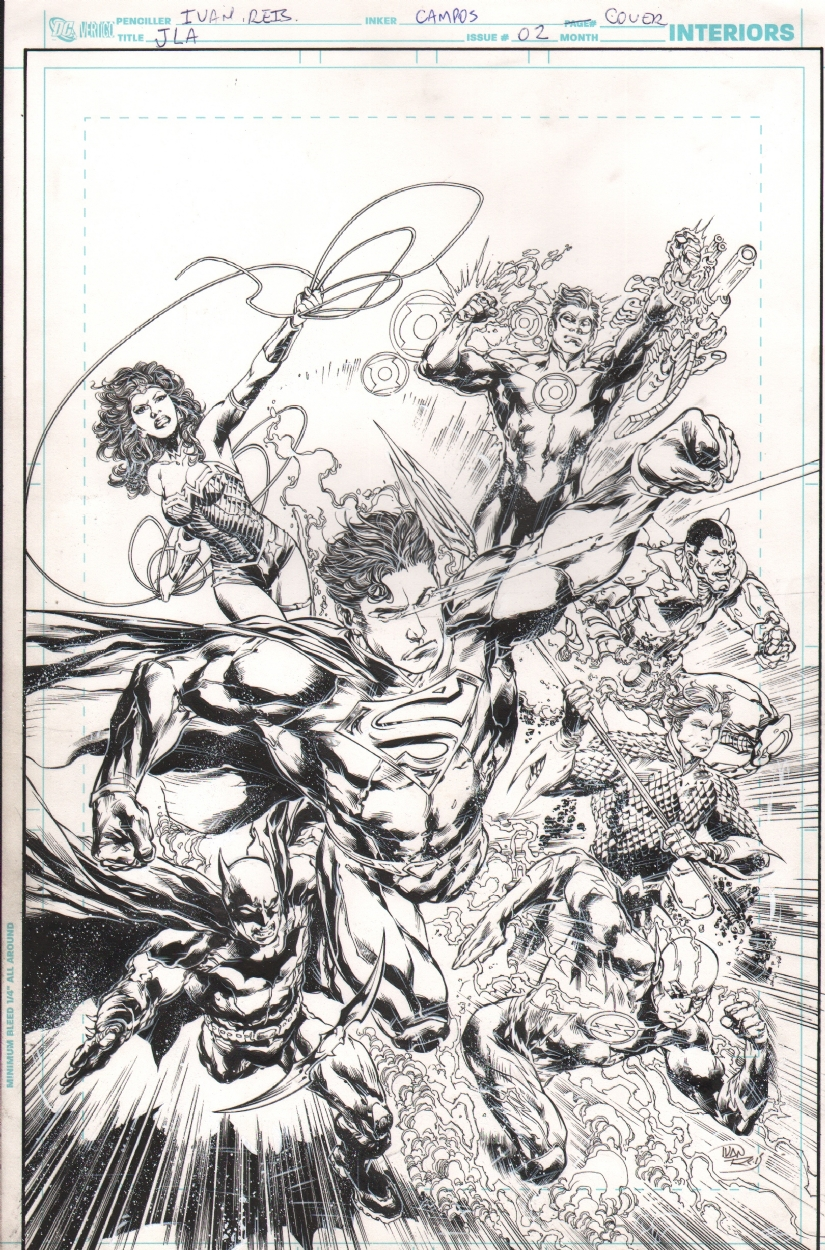 Justice League 2 Variant Cover Alternative Inks Superman Wonder Woman Batman Flash Green Lantern Ivan Reis Marcelo Campos In Chiaroscuro Studios S Sold Comic Art Gallery Room If sketch league is up but you can't access the page, try one of the below solutions alternative dns services. justice league 2 variant cover