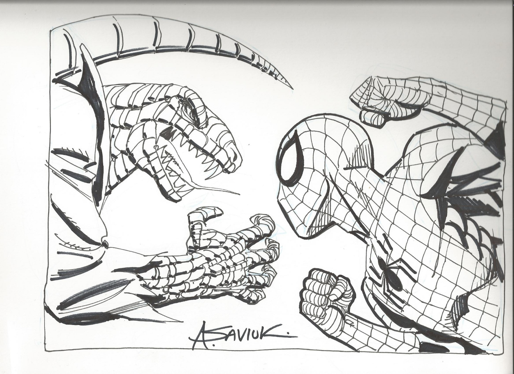 Spiderman Vs The Lizard By Alex Saviuk In Rob Shalda S Spidey And Foes Comic Art Gallery Room