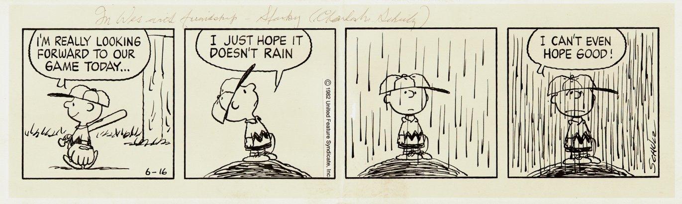 PEANUTS (Baseball Themed) Daily Strip 6-16-82 Comic Art