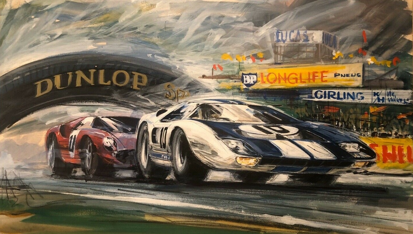 Ford Vs Ferrari Vintage Illustration In Duke Fleed S Vintage Illustration Art Comic Art Gallery Room