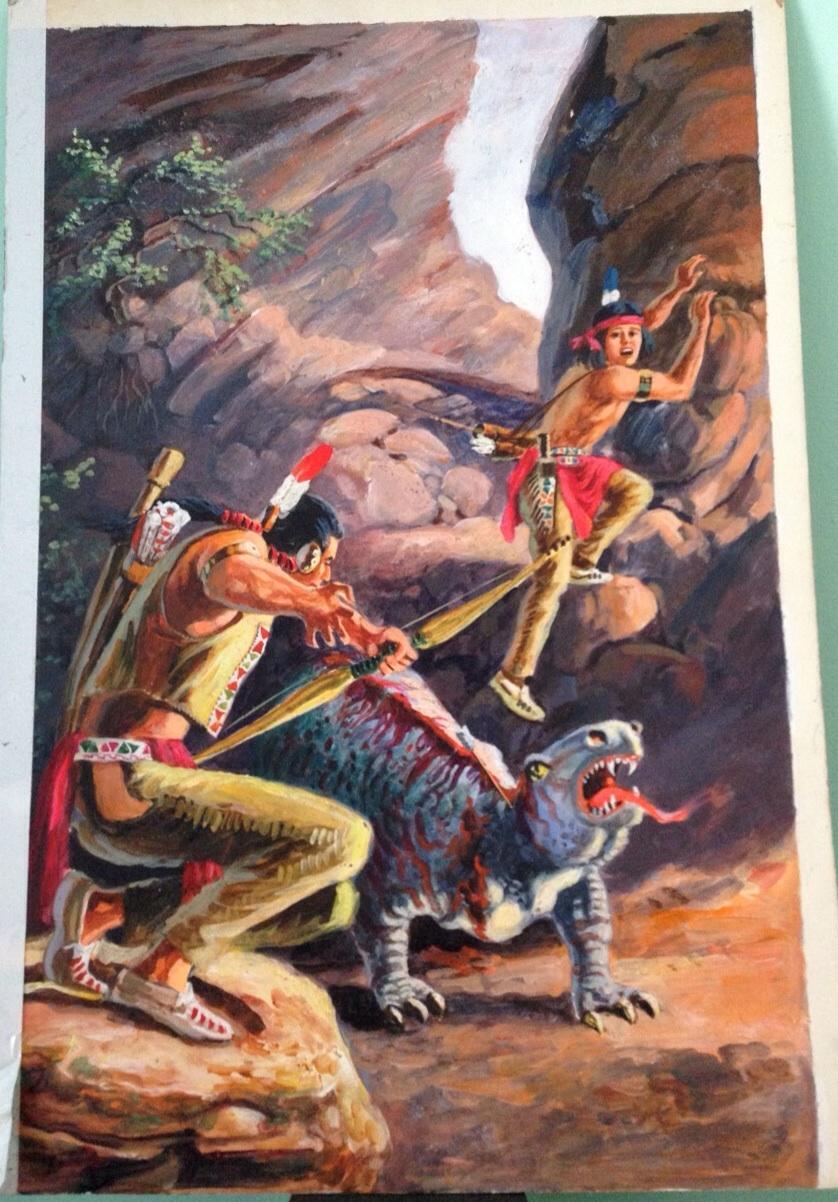 Editorial Novaro Turok El Guerrero De Piedra 83 Turok Son Of Stone Spanish Reprint Original Cover Art In Carlos Castanos S My Original Turok Son Of Stone Comic Art Gallery Comic Art Gallery